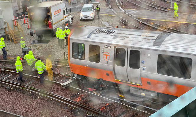 Derailed Orange Line train at Wellington yard