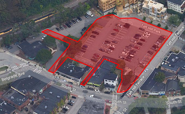 Map of Roslindale Square municipal parking lot