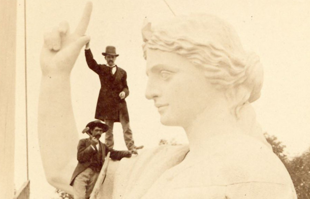 Working on a statue in the old days
