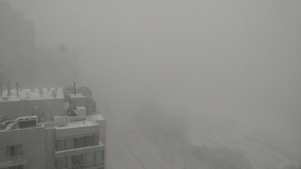 Poor visibility in the snowstorm