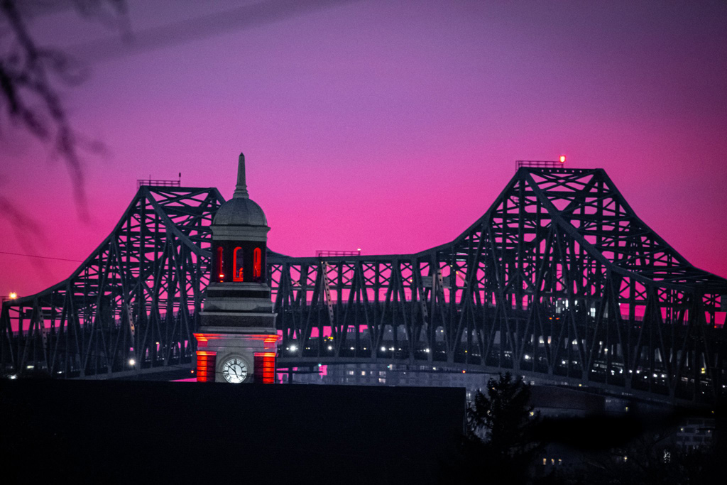 Tobin bridge at sunset
