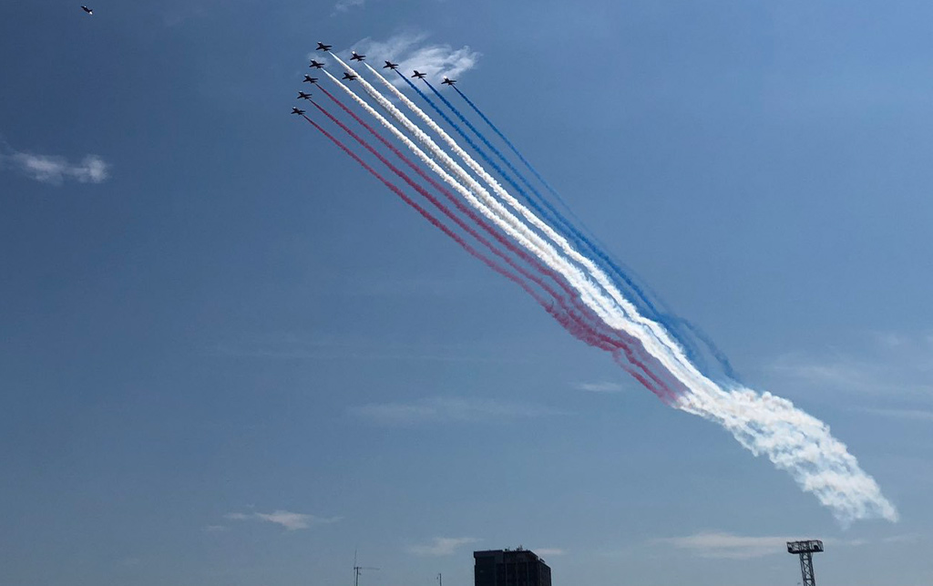 Red Arrows over Boston Harbor