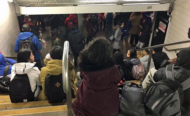 People waiting for the Red Line