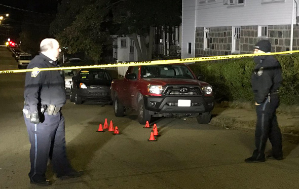 Shooting scene on Wellsmere Road, showing the pickup that was hit
