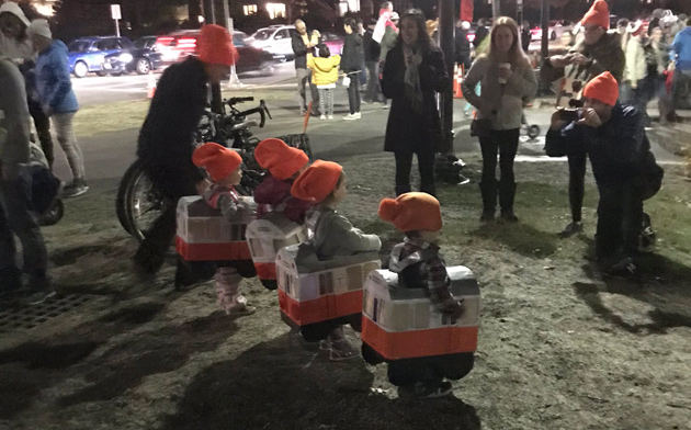 Small Orange Line cars at Jamaica Plain lantern festival