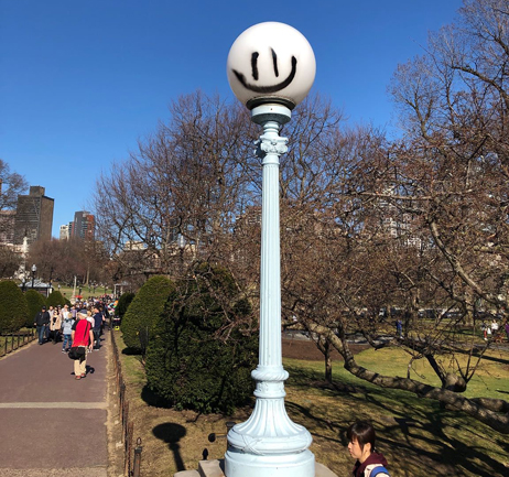 Defaced light pole in the Public Garden