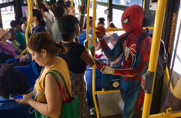 Spider-Man on a Washington Street bus in Roslindale this morning