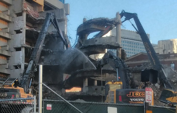 Government Center garage getting taken apart