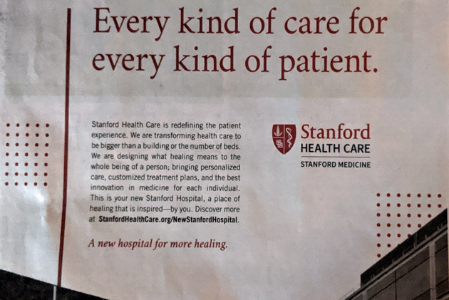 Ad for a Stanford, CA hospital in the Boston Globe