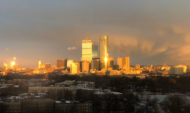 Snow squall leaving Boston