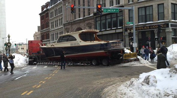 Boat stuck on Lincoln Street in downtown Boston