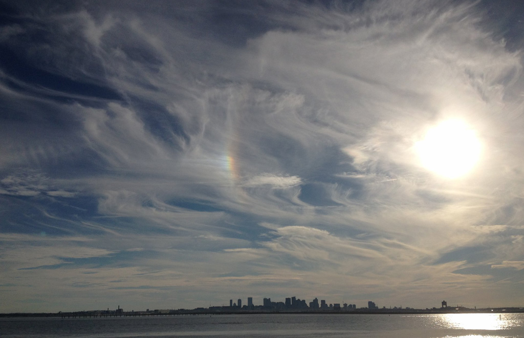 Swirly skies over Boston Harbor as seen from Deer Island
