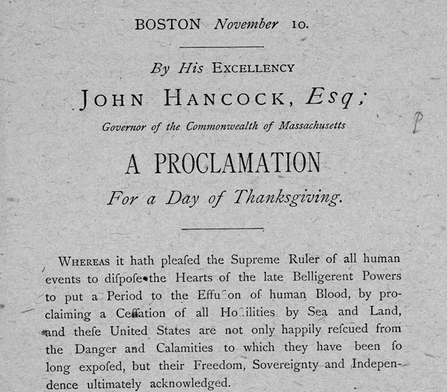 Gov. Hancock declares Thanksgiving