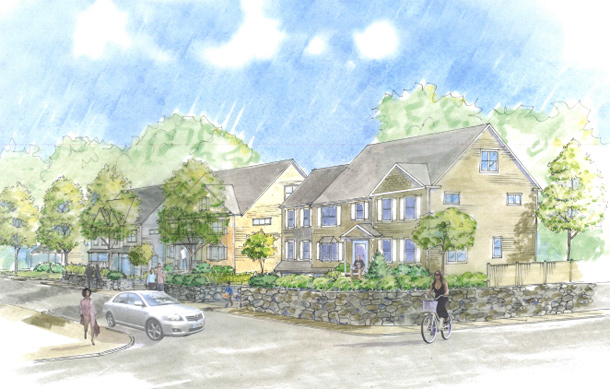 Architect's rendering of West Roxbury homes