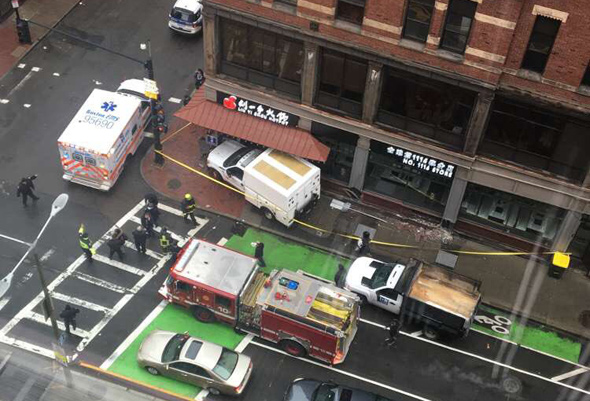 Truck into restaurant at Washington and Kneeland streets in Chinatown