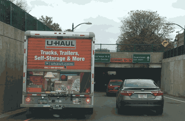 U-Haul truck on Storrow Drive