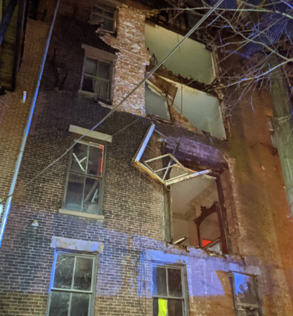 Collapsed rear side of Upton Street building