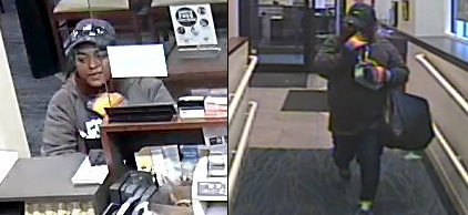Photos showing woman wanted for South Boston bank robbery