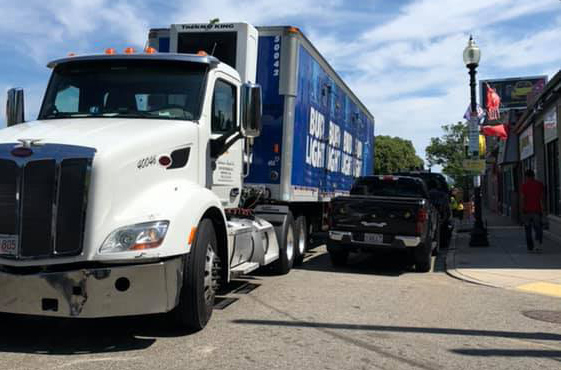Truck parked the wrong way on Washington Street in Roslindale
