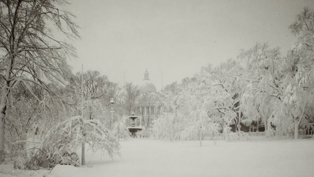 State House in the snow in 1898