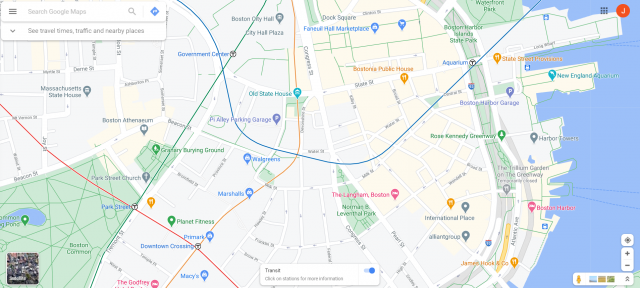 Google map of Downtown Boston with transit lines showing; the Blue and Orange lines are deflected from their actual alignments
