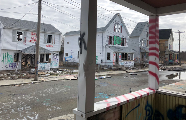 Desolate houses left over from the filming of the Patriot