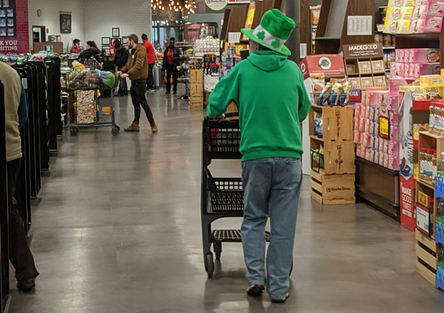 Man dressed for St. Patrick's Day at Roche Bros. in West Roxbury
