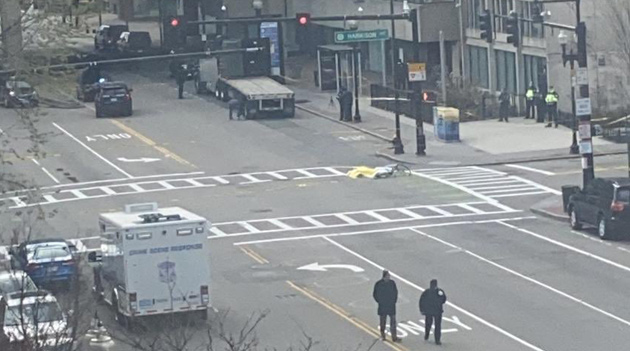 Scene of bicycle crash at Massachusetts and Harrison avenues