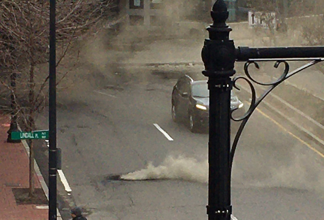 Boom! Exploding manhole in Charles Circle