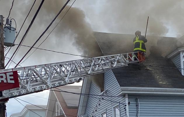 Firefighter on Brookvale Street roof
