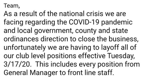 Layoff notice to BSC staff, including general managers