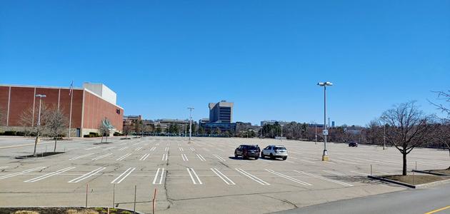 Empty Burlington Mall parking lot