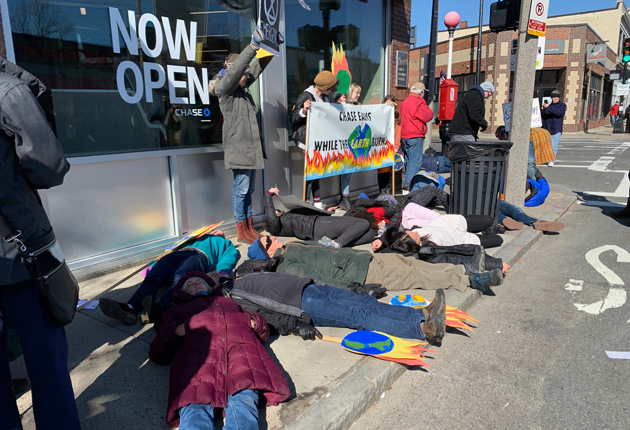 Climate-change die-in outside Chase Bank branch in Jamaica Plain