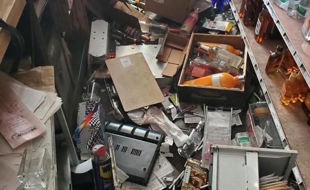 Destruction inside Clarendon Wine