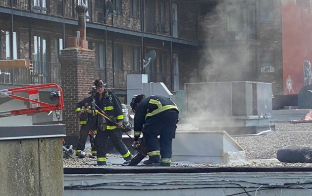 Firefighters on Commonwealth Avenue roof