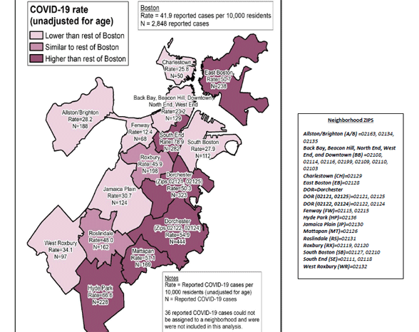 Covid-19 rate map for Boston neighborhoods