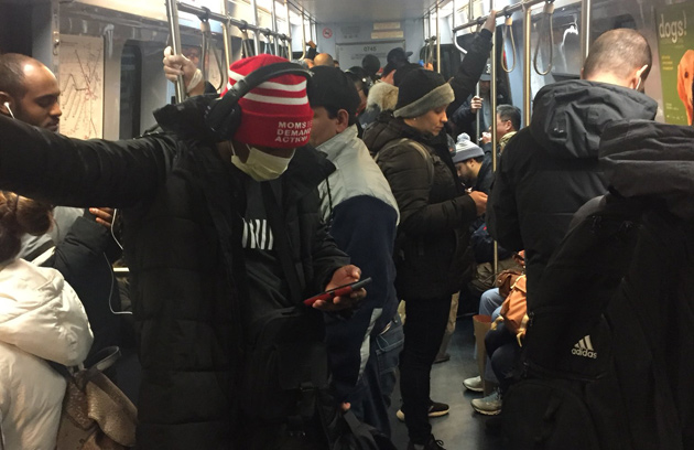 A crowded Blue Line train this afternoon