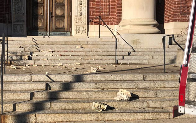 Fallen coping stones at Sacred Heart Church in Jamaica Plain