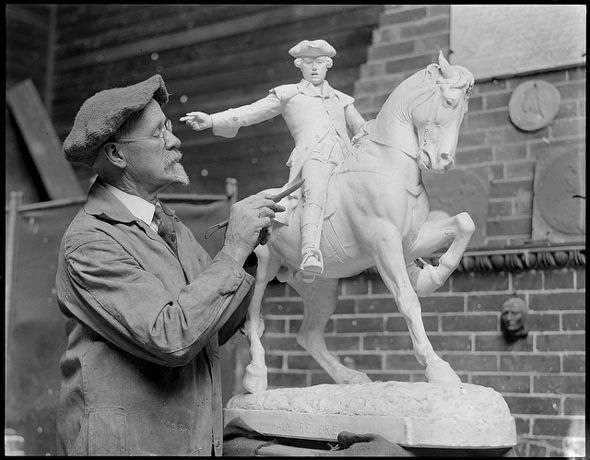 Dallin and a model of his iconic Paul Revere statue