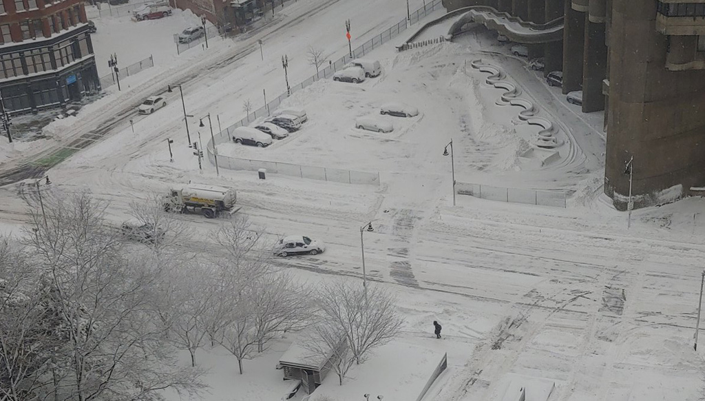 Snowy streets in downtown Boston