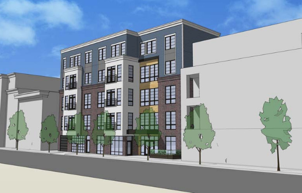 Architect's rendering of proposed 515-519 East 2nd St. building
