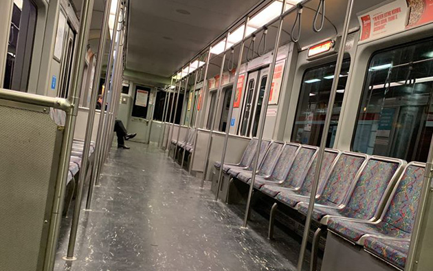 A near empty Red Line train this afternoon