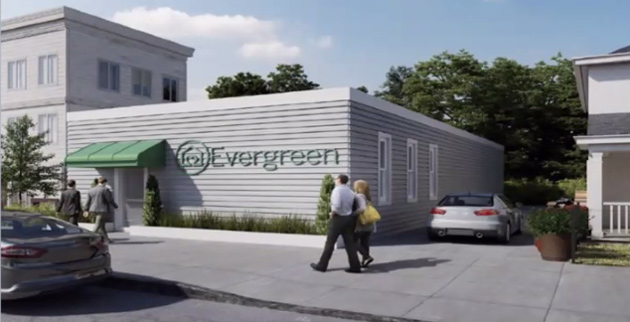 Rendering of proposed Evergreen shop