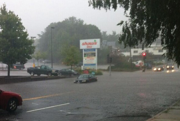 Flooding in front of Shaw's