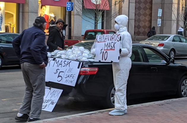 "Guy selling ""China virus"" masks on Boylston Street"