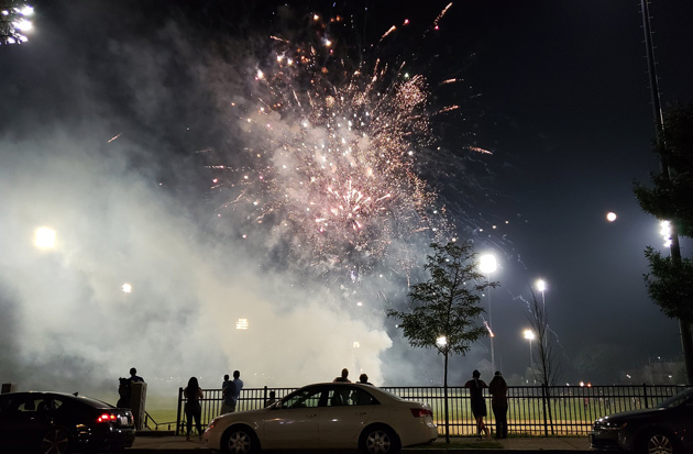 Fireworks at Healey Field in Roslindale