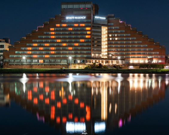 Hyatt Regency in Cambridge with heart reflecting off Charles River