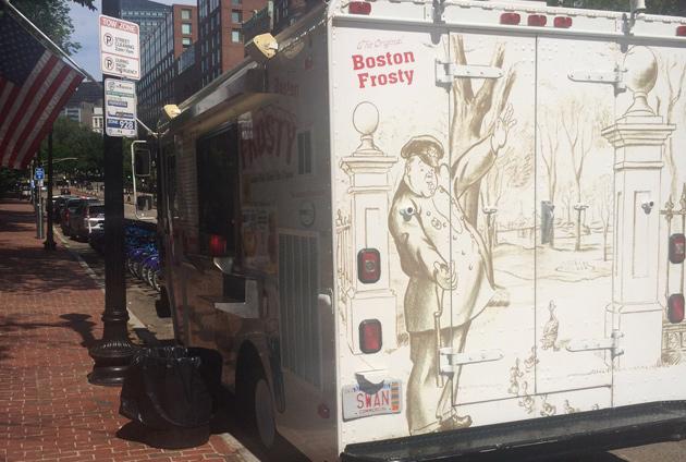 Ice-cream truck on Boylston Street at the Public Garden.