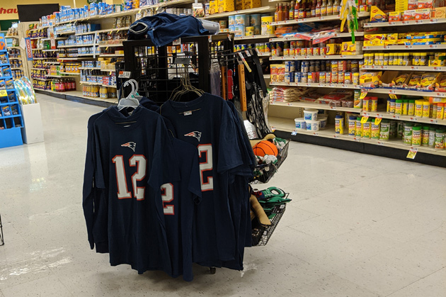 Tom Brady jerseys for sale at the Hyde Park Shaw's