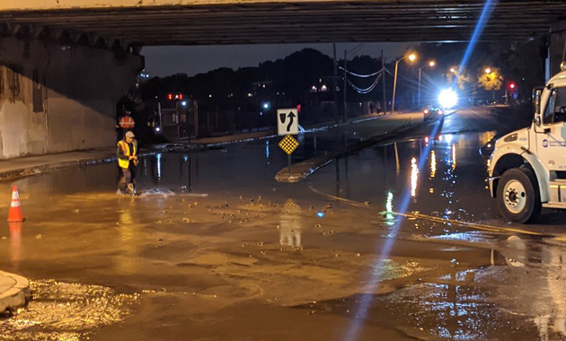 Water main break, flooded road in Dorchester